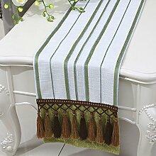 Met Love Green Stripe Tuch Tischläufer Modern Simple Fashion Upscale Wohnzimmer Küche Restaurant Hotel Heimtextilien (Dieses Produkt verkauft nur Tischläufer) 33 * 150cm