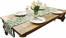 Met Love Grün Blau Grau Weiß Streifen Gitter Blume Muster Tuch Tischläufer Modern Einfache Mode Upscale Wohnzimmer Küche Restaurant Hotel Heimtextilien (Dieses Produkt verkauft nur Tischläufer) 35 * 220cm