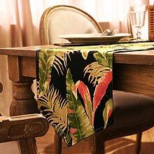 Met Love Grün Schwarz Blume Muster Tuch Tischläufer Modern Einfache Mode Upscale Wohnzimmer Küche Restaurant Hotel Heimtextilien (Dieses Produkt verkauft nur Tischläufer) 35 * 160cm