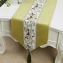 Met Love grünes Blumenmuster Tuch Tischläufer Modern Einfache Mode Upscale Wohnzimmer Küche Restaurant Hotel Heimtextilien (Dieses Produkt verkauft nur Tischläufer) 33 * 200cm