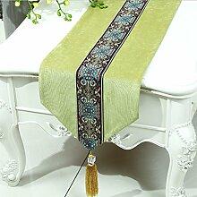 Met Love Grünes Blumenmuster Tuch Tischläufer Modern Einfache Mode Upscale Wohnzimmer Küche Restaurant Hotel Heimtextilien (Dieses Produkt verkauft nur Tischläufer) 33 * 150cm