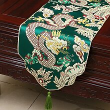 Met Love Grünes Gitter Blumenmuster Tuch Tischläufer Modern Einfache Mode Upscale Wohnzimmer Küche Restaurant Hotel Heimtextilien (Dieses Produkt verkauft nur Tischläufer) 33 * 150cm