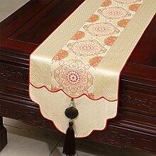 Met Love Hellgelb Blumenmuster Satin Tischläufer Modern Einfache Mode Upscale Wohnzimmer Küche Restaurant Hotel Heimtextilien (Dieses Produkt verkauft nur Tischläufer) 33 * 180cm