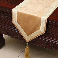 Met Love Hellgelbe Blumenmuster Tuch Tischläufer Modern Einfache Mode Upscale Wohnzimmer Küche Restaurant Hotel Heimtextilien (Dieses Produkt verkauft nur Tischläufer) 33 * 150cm