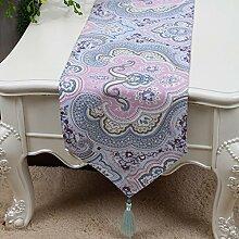 Met Love Lila Blumenmuster Tuch Tischläufer Modern Einfache Mode Upscale Wohnzimmer Küche Restaurant Hotel Heimtextilien (Dieses Produkt verkauft nur Tischläufer) 33 * 230cm