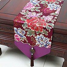 Met Love lila Blumenmuster Tuch Tischläufer Modern Einfache Mode Upscale Wohnzimmer Küche Restaurant Hotel Heimtextilien (Dieses Produkt verkauft nur Tischläufer) 33 * 200cm