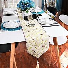 Met Love Lila Weiß Grün Blume Muster Tuch Tischläufer Modern Einfache Mode Upscale Wohnzimmer Küche Restaurant Hotel Heimtextilien (Dieses Produkt verkauft nur Tischläufer) 29 * 160cm
