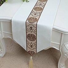 Met Love Meter weiße Farbe Blumenmuster Tuch Tischläufer Modern Einfache Mode Upscale Wohnzimmer Küche Restaurant Hotel Heimtextilien (Dieses Produkt verkauft nur Tischläufer) 33 * 200cm