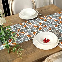 Met Love Orange Farbe Blau Grau Weiß Gestreift Muster Blume Muster Tuch Tischläufer Modern Einfache Mode Upscale Wohnzimmer Küche Restaurant Hotel Heimtextilien (Dieses Produkt verkauft nur Tischläufer) 35 * 180cm