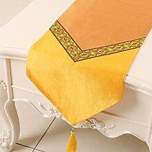 Met Love Orange Farbe Blumenmuster Tuch Tischläufer Modern Einfache Mode Upscale Wohnzimmer Küche Restaurant Hotel Heimtextilien (Dieses Produkt verkauft nur Tischläufer) 33 * 200cm