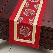 Met Love Red Flower Pattern Tuch Tischläufer Modern Simple Fashion Upscale Wohnzimmer Küche Restaurant Hotel Heimtextilien (Dieses Produkt verkauft nur Tischläufer) 33 * 200cm