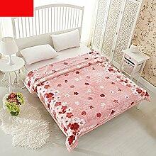 Met Love Rosa Warme Decke Blumenmuster Schlafzimmer Bettdecke Decke Rascheldecke Freizeitdecke Polyester Material ( größe : 180*200cm )