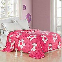 Met Love Rosa warme Decke Pflanze Blumenmuster Wohnzimmer mit Sofa Decke Schlafzimmer Bettdecke weich und komfortabel ( größe : 150*200cm )