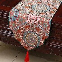 Met Love Rotgitter Blumenmuster Tuch Tischläufer Modern Einfache Mode Upscale Wohnzimmer Küche Restaurant Hotel Heimtextilien (Dieses Produkt verkauft nur Tischläufer) 33 * 200cm