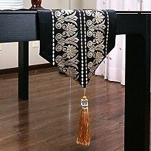 Met Love Schwarzes Blumenmuster Tuch Tischläufer Modern Einfache Mode Upscale Wohnzimmer Küche Restaurant Hotel Heimtextilien (Dieses Produkt verkauft nur Tischläufer) 32 * 240cm