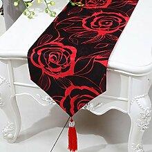 Met Love Schwarzes Rot Blumenmuster Tuch Tischläufer Modern Einfache Mode Upscale Wohnzimmer Küche Restaurant Hotel Heimtextilien (Dieses Produkt verkauft nur Tischläufer) 33 * 230cm