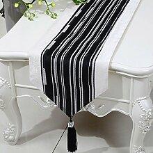 Met Love Schwarzes Streifen Tuch Tischläufer Modern Einfache Mode Upscale Wohnzimmer Küche Restaurant Hotel Heimtextilien (Dieses Produkt verkauft nur Tischläufer) 33 * 180cm