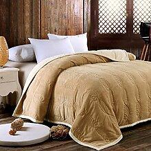 Met Love Warme Decke Schlafzimmer Bettdecke Wohnzimmer mit Sofa Decke Weiche und komfortable einfarbig ( Farbe : Leicht gebräunt , größe : 180*200cm )