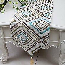 Met Love Weiß Braun Grün Geometrie Blume Muster Tuch Tischläufer Modern Einfache Mode Upscale Wohnzimmer Küche Restaurant Hotel Heimtextilien (Dieses Produkt verkauft nur Tischläufer) 33 * 150cm