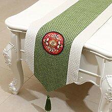 Met Love Weiß Grün Blume Muster Tuch Tischläufer Modern Einfache Mode Upscale Wohnzimmer Küche Restaurant Hotel Heimtextilien (Dieses Produkt verkauft nur Tischläufer) 33 * 150cm