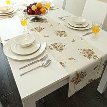 Met Love Weißes Blumenmuster Tuch Tischläufer Modern Einfache Mode Upscale Wohnzimmer Küche Restaurant Hotel Heimtextilien (Dieses Produkt verkauft nur Tischläufer) 35 * 200cm