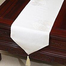 Met Love Weißes Gitter Blumenmuster Tuch Tischläufer Modern Einfache Mode Upscale Wohnzimmer Küche Restaurant Hotel Heimtextilien (Dieses Produkt verkauft nur Tischläufer) 33 * 150cm