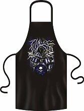 Metal/Gothic/Rock Motiv Grill-/Koch-Schürze: Skeleton Drummer Thunderstorm