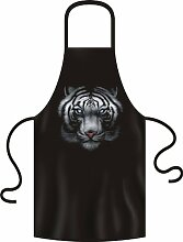 Metal/Gothic/Western USA Motiv Koch-/Grill-Schürze: White Tiger Blue Eyes from the Dark