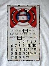 Metal Wall Calendar - Red Lighthouse Leben-Ring-Design -
