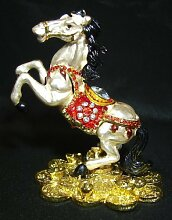 Metal White Horse Stepping on Bed of Coins by Feng