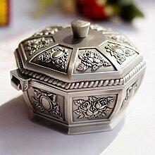 Metall Aschenbecher mit Deckel kreativ Persönlichkeit Trend multifunktionalen Retro - Stil Aschenbecher bedeckten Haushalt Wohnzimmer, Farbe: Silber, Größe: 11 * 8cm
