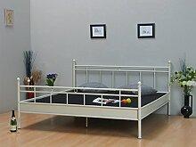 Metall Bett 140x200 vanille Creme Doppelbett