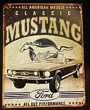 Metall Blech Wandschild 1813 Auto Garage Ford Klassischer Mustang Vintage Retro