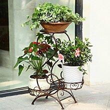 Metall Blume Rack eine Packung 3 Topfpflanze Rack, Metall Blumentöpfe runden schmiedeeisernen Blumentöpfe, Pflanzen-Display stehen mehrstöckigen Wohnzimmer Balkon im Freien Blumentopf Rack ( Farbe : Braun )