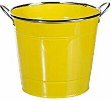 Metall Blumentopf Eimer Balkon Garten und Terrasse in 4 Farben und Silberrand: Farbe: Gelb