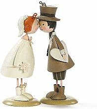 Metall Brautpaar 18 cm küssend Figuren Handarbeit