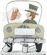 Metall Brautpaar im Auto 23x26cm Hochzeit Geschenk