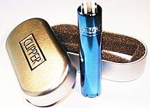 Metall-Clipper-Feuerzeug, blau, türkis