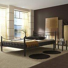 Metall Doppelbett mit Nahchttischen Eisen Schwarz