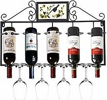 Metall Eisen Weinregal   Eisen Weinstand   Weinglashalter   Becherhalter   Wandmontierter Weinkühler   Hängendes Weinglas-Regal ( Farbe : Schwarz )