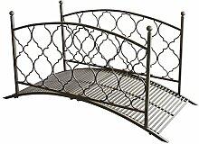 Metall Gartenbrücke Teichbrücke im Antik-Look inklusive Geländer, 180x80x91cm