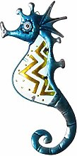 Metall Gartendeko Seepferdchen blau