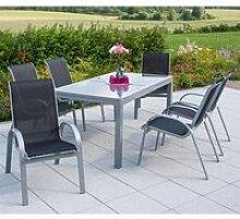 Metall Gartenmöbel Set 7-teilig, Gartentisch