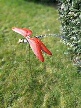 Metall Gartenspieß Rot Libelle 100 cm Gartendeko