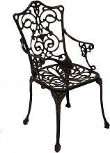 Metall Gartenstuhl in Bronzefarben Armlehnen