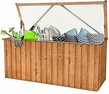 Metall-Gerätebox Kissen-Box Garten-Schrank 770 Liter Gartentruhe in Eichen-Holz Optik