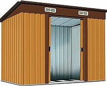Metall Gerätehaus 196 x 122 x 180 cm ✔ inkl. Alu Bodenkranz ✔ Geräteschuppen Garten Schuppen Gartenhaus ✔ Braun ✔ Modellauswahl