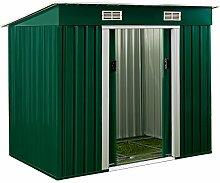 Metall Gerätehaus 196 x 122 x 180 cm ✔ inkl. Alu Bodenkranz ✔ Geräteschuppen Garten Schuppen Gartenhaus ✔ Grün ✔ Modellauswahl