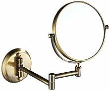 Metall-Klappspiegel Badezimmerspiegel Kosmetikspiegel Badezimmerwand Lupe,Gold-A:6in