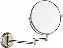 Metall-Klappspiegel Badezimmerspiegel Kosmetikspiegel Badezimmerwand Lupe,Silver-A:6in